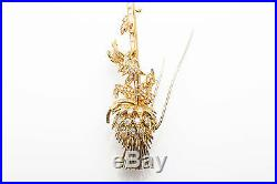 Vintage $20,000 Buccellati 12ct Baguette Diamond 18k Gold THISTLE Brooch Pin 42g