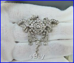 Vintage 2.50ct Diamond & 18K White Gold Decorated Pendant Brooch Pin
