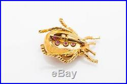 Vintage $3000 2ct Natural Ruby Demantoid Garnet LADYBUG 14k Gold Brooch Pin