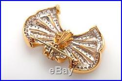 Vintage $8000 7ct Emerald Diamond 14k Yellow Gold Pendant Brooch Pin RARE