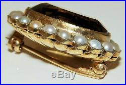 Vintage 9ct Yellow Gold Citrine And Seed Pearl Brooch Pin