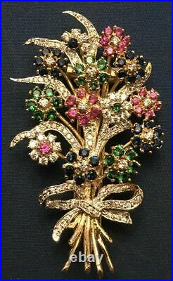 Vintage Antique 14K Yellow Gold Over Diamond Ruby Emerald Sapphire Brooch Pin