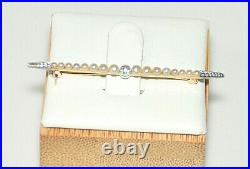 Vintage Antique 14k Yellow Gold & Platinum Seed Pearl & Diamond Brooch Bar Pin