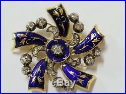 Vintage Antique 18k Yellow Gold Brooch Pin Diamond Blue Enamel Flower Design