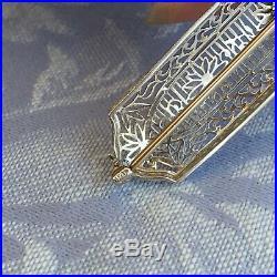 Vintage Antique Art Deco 14K & P White Gold Diamond Filigree Bar Pin Brooch