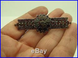 Vintage Antique Bohemian Red Garnet Starburst Gold Gilt Brass Bar Pin Brooch