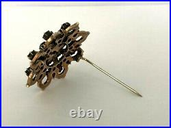 Vintage Antique Silver and Gold Plated Bohemian Garnet Brooch Bar Pin with Box