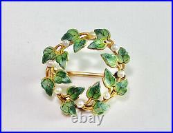 Vintage Art Nouveau 14k Yellow Gold Green Leaf Enamel Pearl Circle Pin Brooch