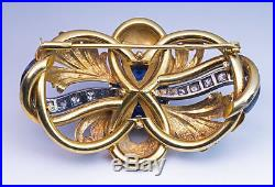 Vintage Art Nouveau Sapphire Diamond Enamel Gold Brooch Pin