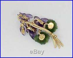 Vintage Austrian Iris Flower Amethyst Jade 18K Gold Diamond Brooch Pin