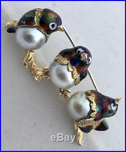 Vintage Birds Brooch Pin 18k Yg Enamel With 3 Japanese Cultured Perls Very Rare