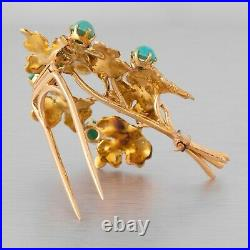 Vintage Buccellati 18k Yellow Gold Grape Turquoise Leaf Motif Pin / Brooch