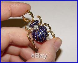 Vintage CORLETTO Scarab Beetle Bug Enamel Diamond Brooch/Pin 1.5 18K gold ITALY
