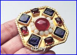 Vintage Chanel Gold-plated Gripoix Poured Glass Brooch Pin Season 25