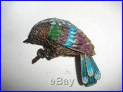 Vintage Chinese Enamel Sterling Silver gold wash Filigree Bird brooch pin