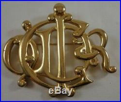 Vintage Christian Dior Logo Gold Tone Brooch Pin
