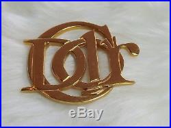 Vintage Christian Dior Logo Signature Sign Large Gold tone Brooch Pin