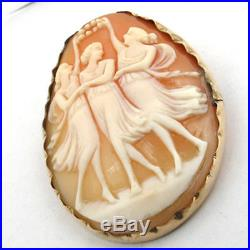 Vintage Classic Handcrafted Solid Gold Three Graces Shell Cameo Brooch/ Pin