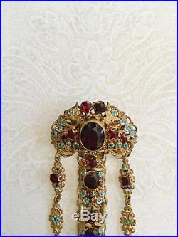 Vintage Czech Gold Gilt Garnet & Enamel Flowers Chatelaine Fob Brooch Pin