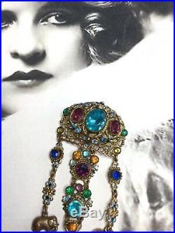 Vintage Czech Gold Gilt Rhinestone & Enamel Flowers Chatelaine Fob Brooch Pin