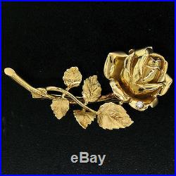 Vintage Detailed 18K Yellow Gold Diamond Rose Flower & Textured Leaf Brooch Pin
