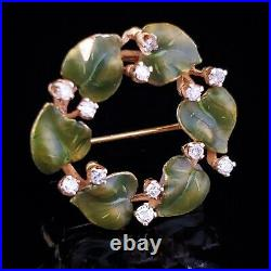 Vintage Diamond Enamel 14k Yellow Gold Ivy Leaf Wreath Brooch FOB Pin Pendant