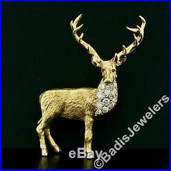 Vintage E. Wolfe & Co. 18K Yellow Gold Deer Stag with Diamonds Ruby Eye Brooch Pin