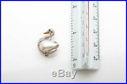 Vintage E Wolfe & Co Signed 18k Gold Pearl Ruby SWAN BIRD Brooch Pin RARE