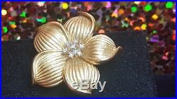 Vintage Estate 14k Gold Diamond Pendant Flower Signed Nj Chinese Pin Brooch