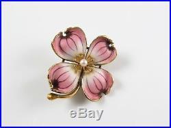 Vintage Estate 14k Gold Enamel & Pearl Pink Dogwood Flower Pansy Brooch Pin