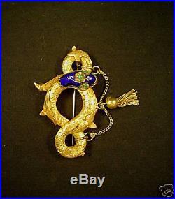 Vintage Estate 14k Gold & Enamel Serpent Brooch / Pin