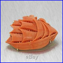 Vintage Estate 14k Solid Yellow Gold Carved Red Orange Coral Ship Brooch Pin