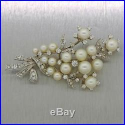 Vintage Estate 14k White Gold 1ctw Diamond & Pearl Brooch Pin
