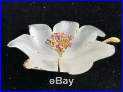 Vintage Estate 14k Yellow Gold Ruby Rock Crystal Quartz Flower Brooch Pin IOB