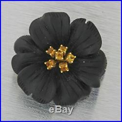 Vintage Estate 18k Solid Yellow Gold Black Porcelain Sapphire Flower Brooch Pin