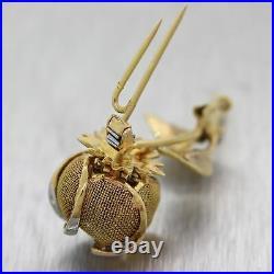Vintage Estate 18k Yellow Gold 1ctw Diamond Blooming Flower Brooch Pin