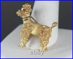 Vintage Estate Antique 18K Yellow Gold Round Ruby Eye 3D Poodle Dog Pin Brooch