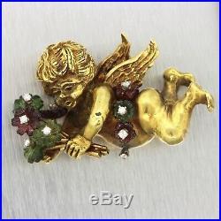 Vintage Estate Art Deco 18k Yellow Gold Diamond Floral Cupid Love Brooch Pin