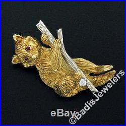 Vintage Estate Textured 18K Two Tone Gold Diamond & Ruby Eye Raccoon Brooch Pin