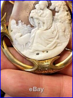 Vintage Georgian Cameo Gold Filled Brooch Pin Madonna Child Antique 1820