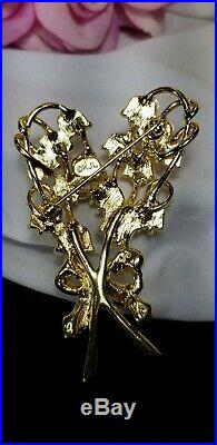 Vintage Gold Kenneth Jay Lane KJL Lily of the Valley Rhinestone Brooch Pin