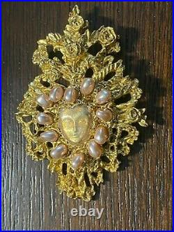Vintage Gold tone Christian Lacroix Pin Brooch France