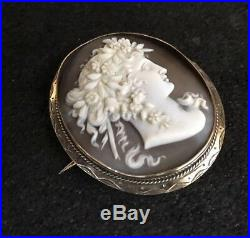 Vintage Hallmarked 9ct 9k Yellow Gold Goddess Flora Lady Shell Cameo Brooch Pin