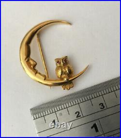 Vintage Hallmarked 9ct 9k Yellow Gold Man In The Moon & Ruby Eyes Owl Brooch Pin