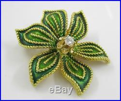 Vintage Hammerman Brothers 18k Gold Diamond Green Enamel Flower Brooch Pin