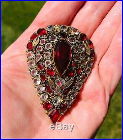 Vintage Hobe Fur Clip Brooch Pin Gold Toned Filigree withRaspberry Red&Clear Stone