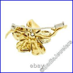 Vintage Italian 18k Gold Round Diamond Dark Blue Enamel Flower Branch Brooch Pin