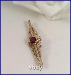 Vintage Jewellery 9ct Yellow Gold Bar Brooch Pin Ruby 9 ct Antique Deco Jewelry