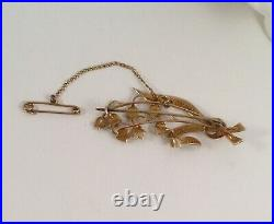 Vintage Jewellery Gold Brooch Pin White Seed Pearls Antique Jewelry Snow Drops