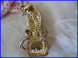 Vintage Jewellery Leopard Panther On Gold Box Brooch Pin Antique Deco Jewelry